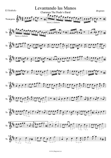 Partitura de Levantando las Manos para Trompeta de El Símbolo Partituras para Charanga Musical Score Trumpet Sheet Music Levantando las Manos