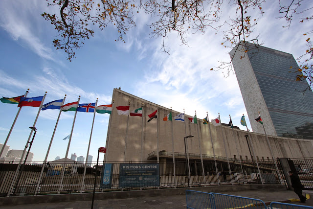 Welcome to United Nations Headquarter at Manhattan in New York, USA