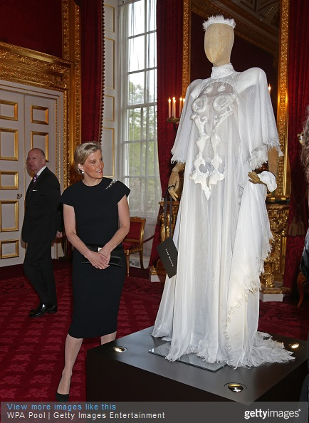 Sophie, Countess of Wessex looks at a dress on display during a reception for the London College of Fashion at St James's Palace on April 28, 2015 in London, England.