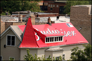 Budweiser ad painted on roof