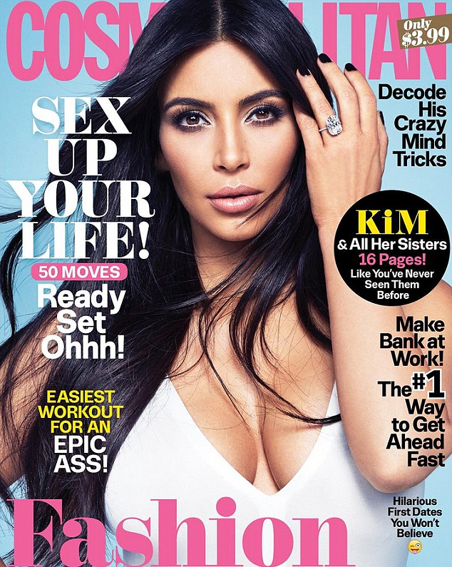 Kim Kardashian flashes cleavage and diamond on Cosmopolitan cover