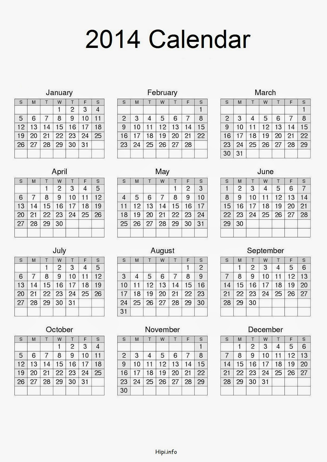 Twitter Headers / Facebook Covers / Wallpapers / Calendars: A4 Paper Size - Calendar 2014 - Free