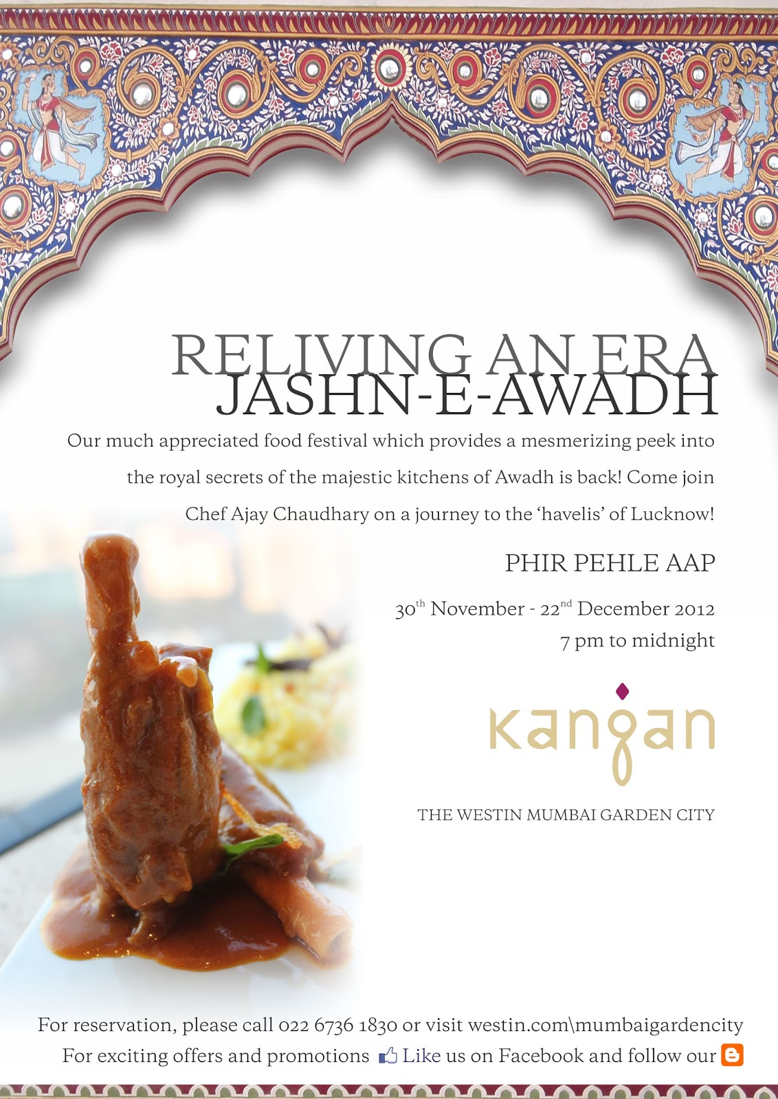 The westin mumbai garden city jashn e awadh for Awadhi cuisine menu