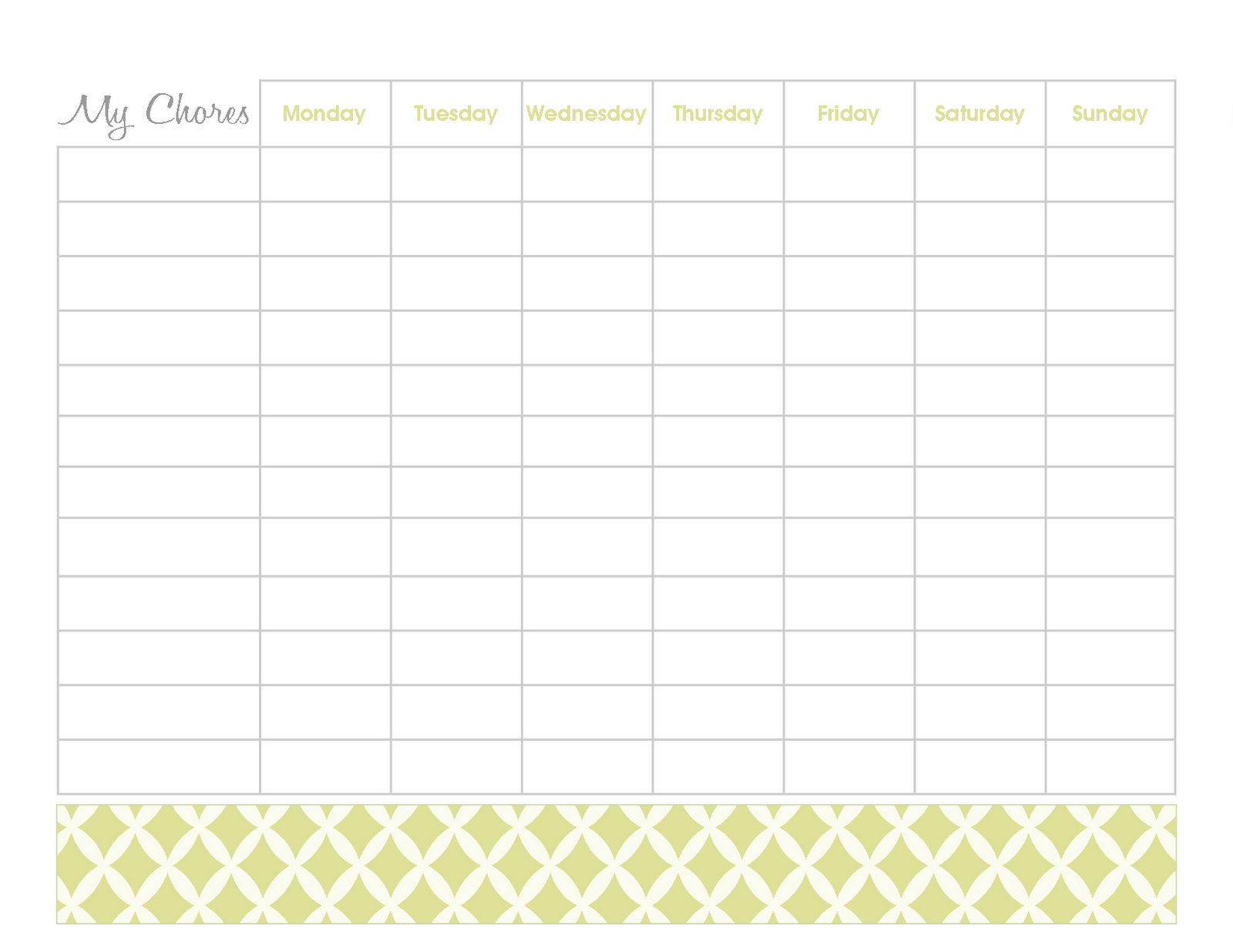 freebies  blank chore chart printables
