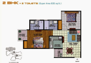 Amrapali Kings Wood :: Floor Plans 2 BHK + 2 T