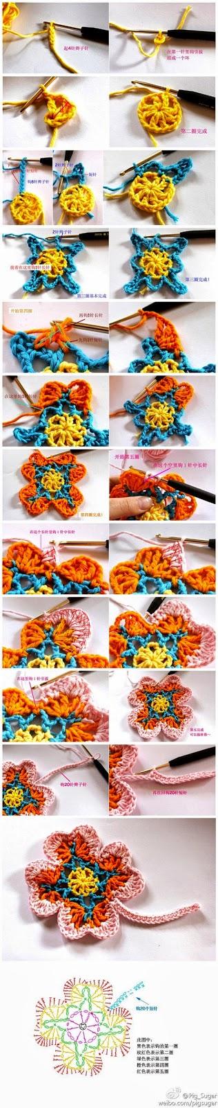 Flor al crochet paso a paso