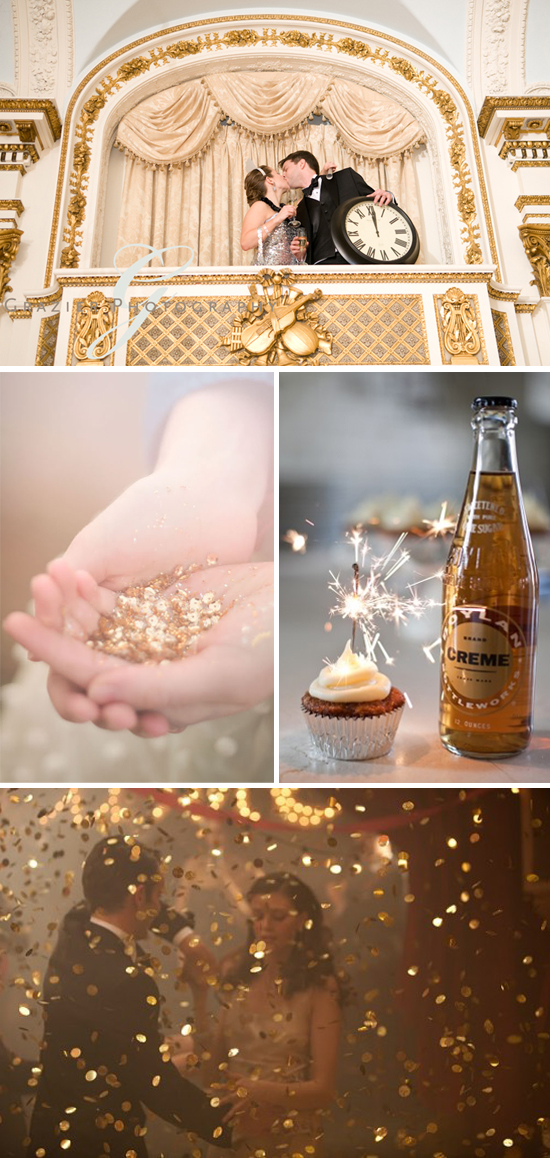 New Year's Eve Gold and Glitter Wedding Inspiration Board Part 1