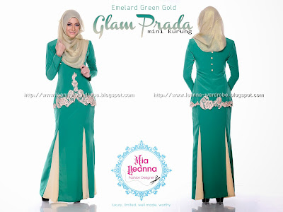 GLAM PRADA MINI KURUNG - EMELARD GREEN GOLD