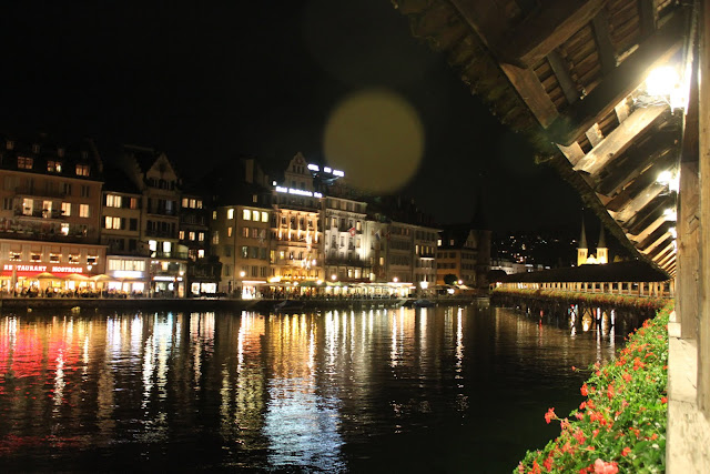 Restaurants along Lake Lucerne and nearby Chapel Bridge in Lucerne, Switzerland