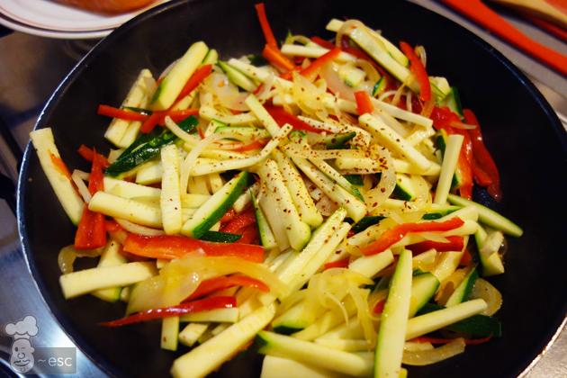 verduras salteadas para hacer el papillote