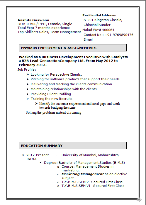 dynamic resume  good cv formats free b m s