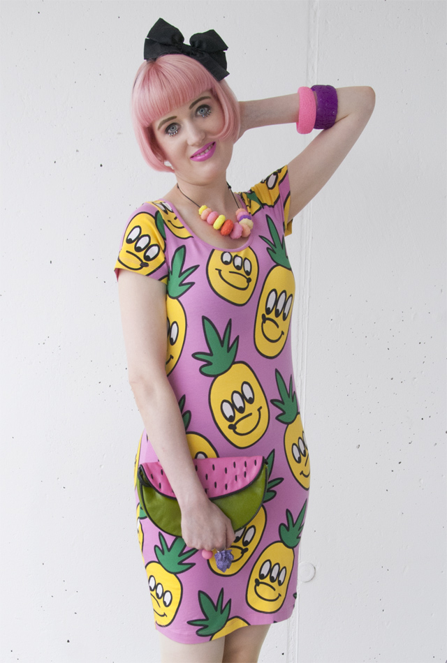 lazy oaf, comic dress, 90s, melon clutch
