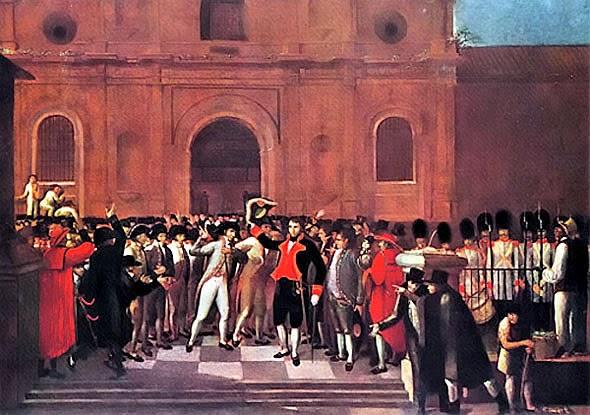 Imagen de la pintura de Juan Lovera titulada 19 de abril de 1810