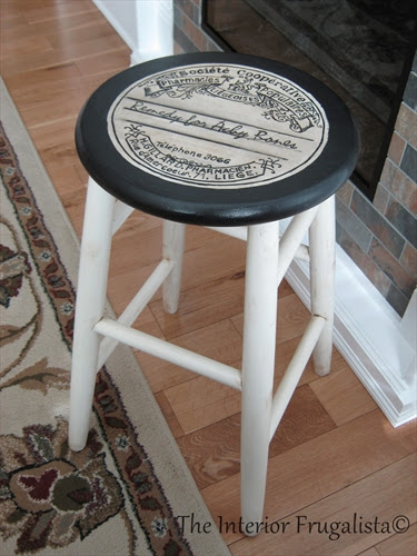 Mom's stool makeover using an apothecary label graphic