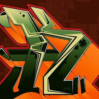 3D Graffiti Alphabet Letter K