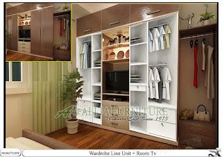 Lemari minimalis baju model tv Line