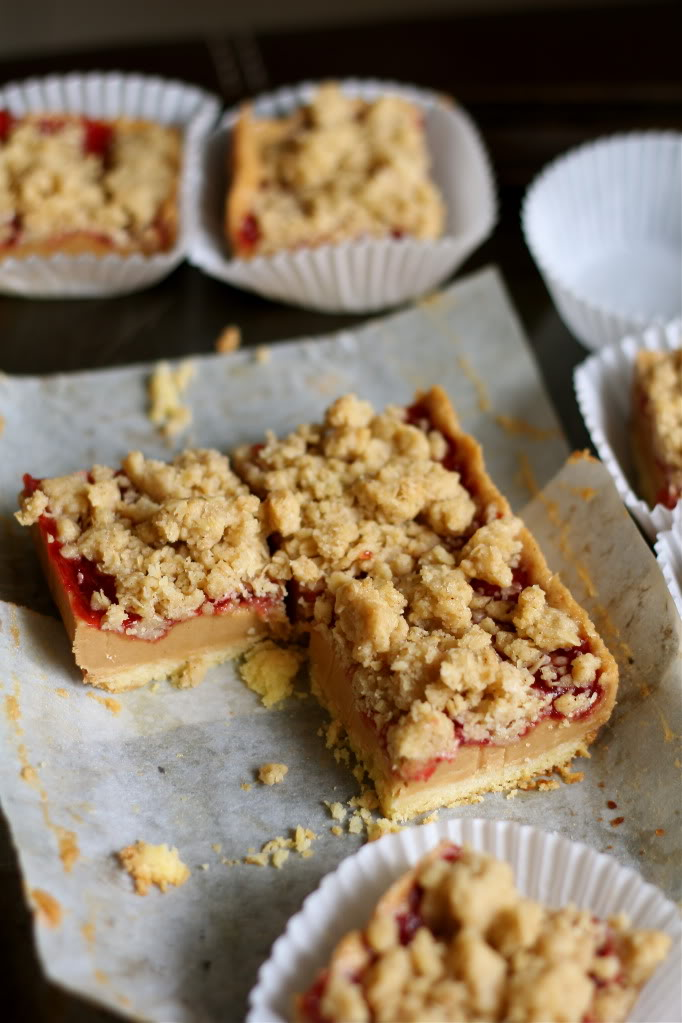 Crumbs and Cookies: peanut butter and jelly bars.