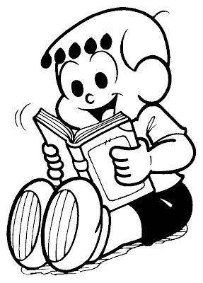 Desenho do Franjinha com livro para colorir - Turma da Mônica