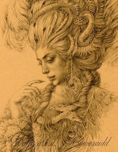 01-Scales-Feathers-Olga-Anwaraidd-Drawings-Fantasy-Portraits-Imaginary-Characters-www-designstack-co