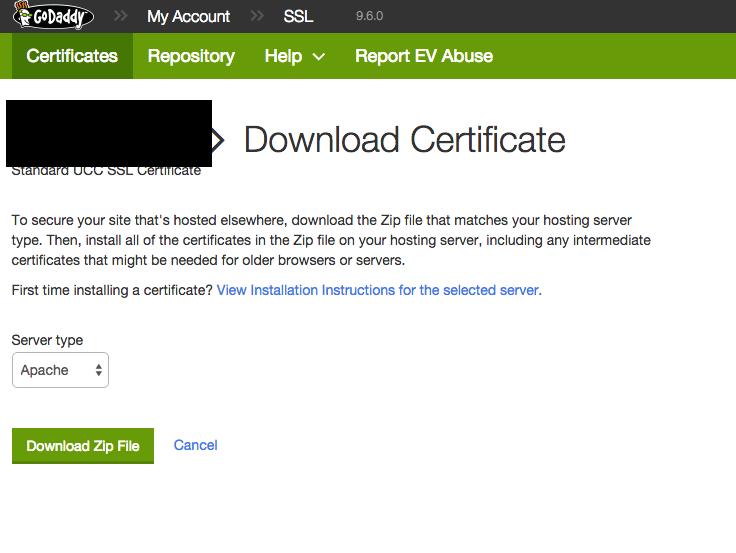 Generate GoDaddy SSL Certificate (.crt) for Azure Websites (.pfx)
