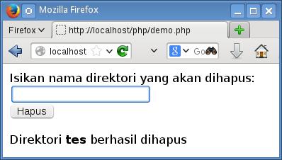 menghapus direktori dengan php