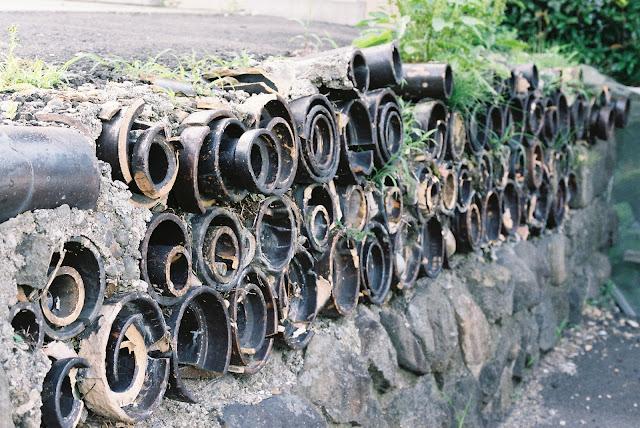 half-buried earthenware