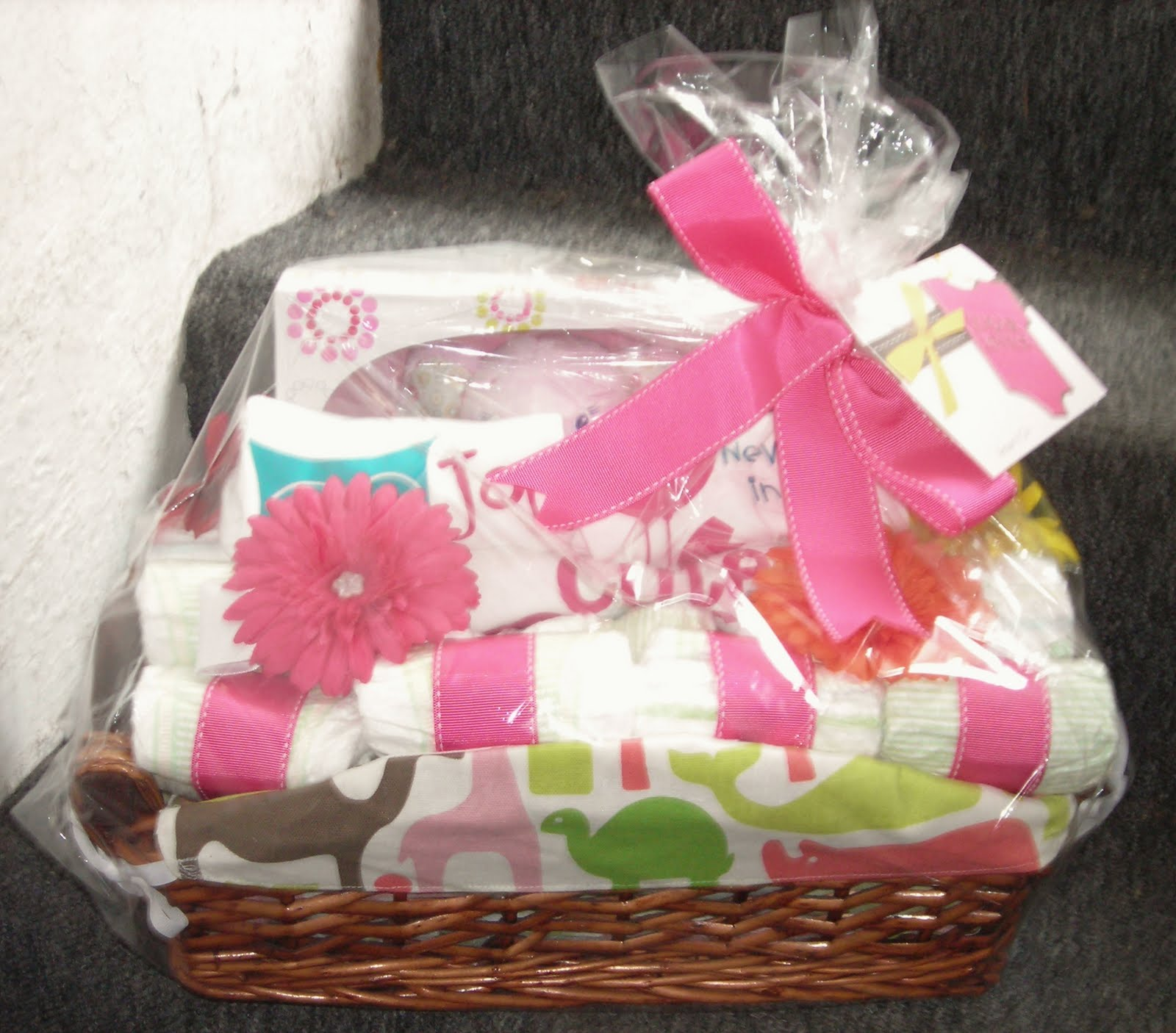 life in the motherhood baby shower gift basket for a baby girl