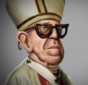 caricatura do papa Francisco