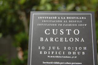 Invitación Desfile Custo Barcelona en 080 Barcelona Fashion Julio 2013