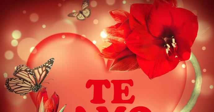 BANCO DE IMAGENES: Corazón de amor con flores, mariposas y mensaje