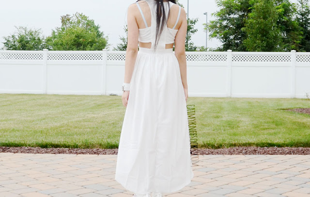 Back view of the white high-low hem cutout dress from WalkTrendy.