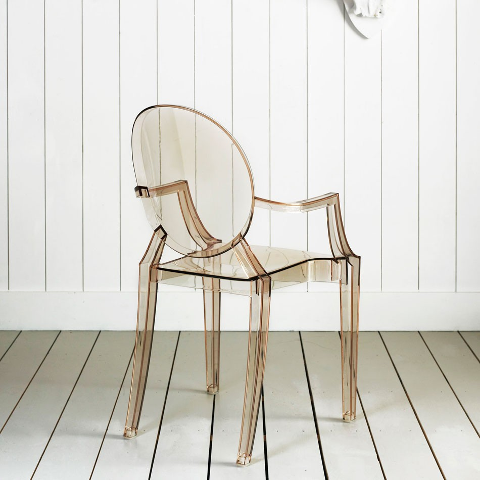 Kartell Louis Ghost Chair Transparent Sunset Orange Designed By Philippe  Starck