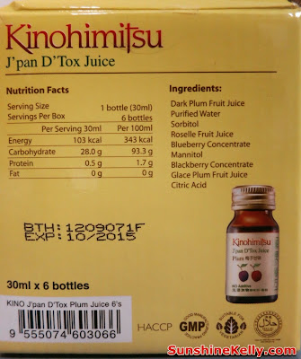 Kinohimitsu J'pan D'Tox Juice Nutrition Facts & Ingredients
