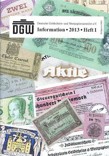 DGW magazine cover from Deutsche Geldschein- und Wertpapiersammler association