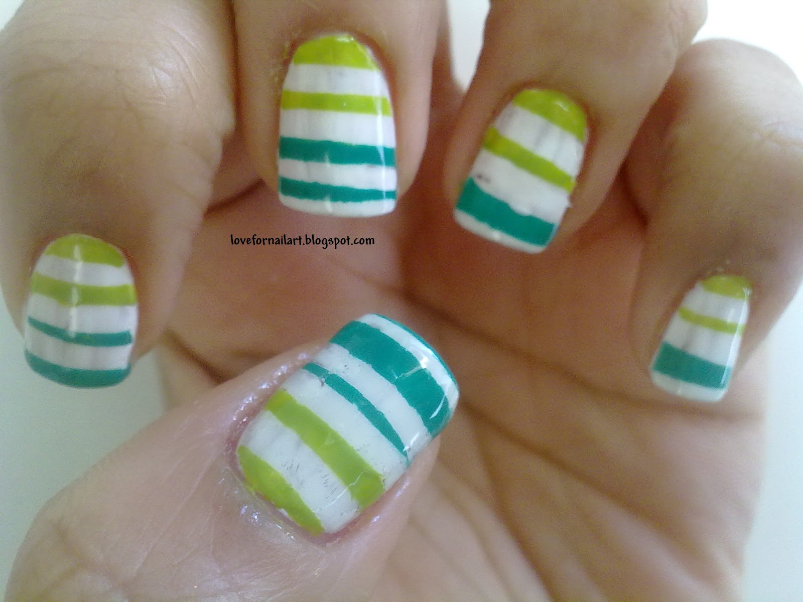 Love For Nail Art: Stripes nail art using scotch tape