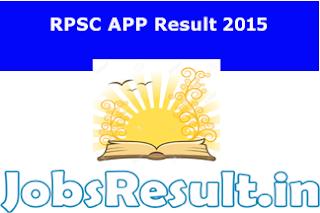 RPSC APP Result 2015