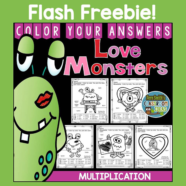 FLASH FREEBIE!  Valentine's Day Math: Valentine's Day Fun! Valentine's Day Love Monsters Multiplication Facts - Color Your Answers Printables for St. Valentine's Day Multiplication in your classroom.  Free until midnight Monday, Jan. 18th. If you download it for your February files, I sure would appreciate ♥feedback♥