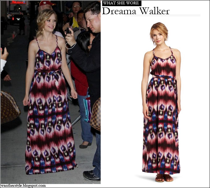 What She Wore: Dreama Walker In Charlie Jade Maxi Ikat Dress