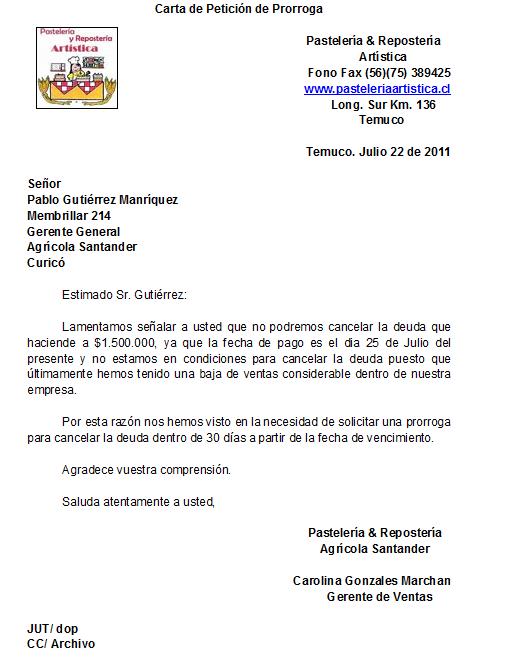 en Informatica: Carta de Petición de Prorroga (Maria Ignacia Ruiz