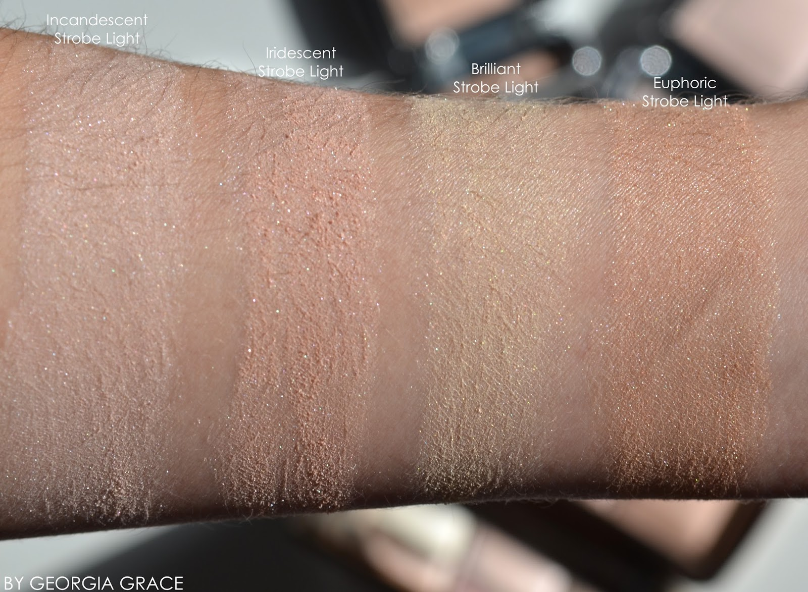 Hourglass Ambient Strobe Lighting Powder Highlighters Swatches Review  Incandescent Iridescent Brilliant Euphoric