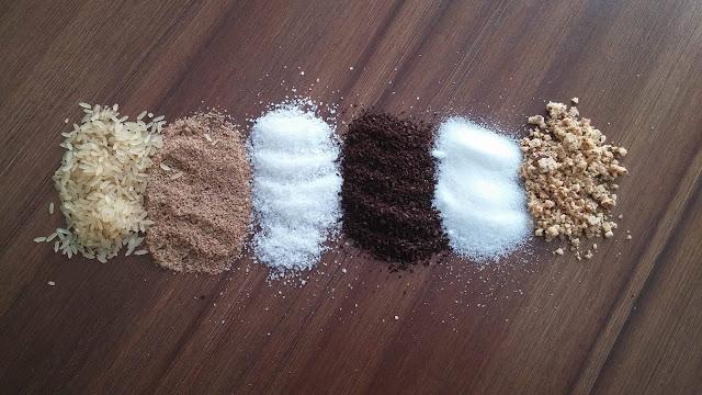 Exfoliants naturels, Riz, Sable, Sel, Café, Sucre, Amande