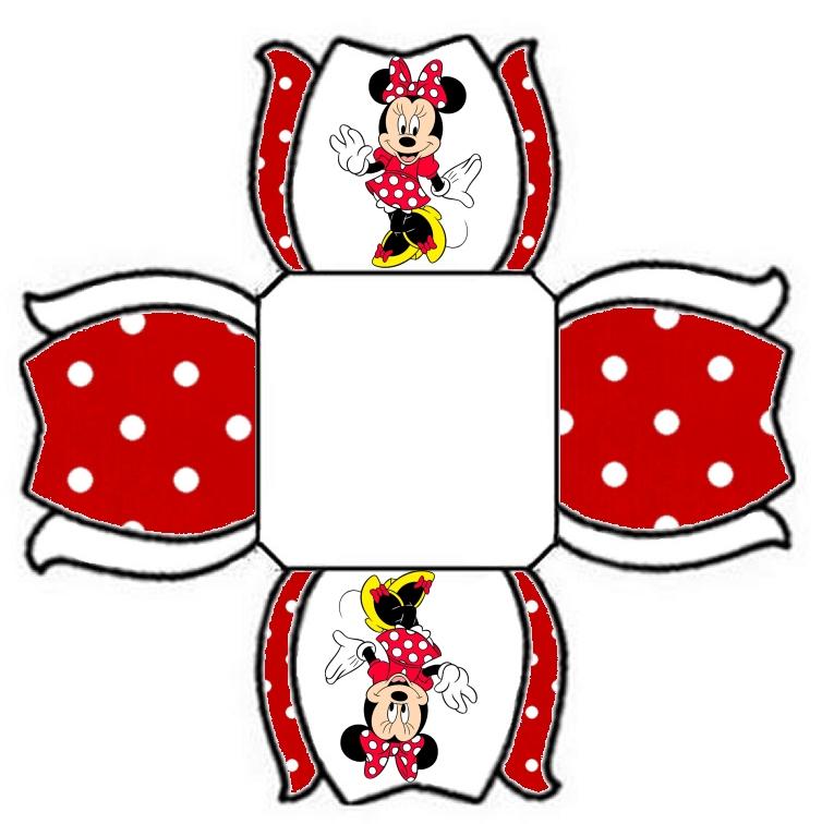 Convite Triangular Transpado Minnie Vermelha  Para Imprimir No Lado