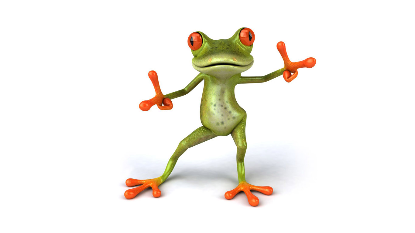 Funny Cartoon Frog Dancing Sitting