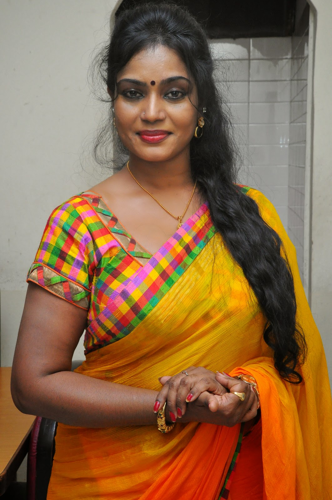 ... at Andamaina maya movie audio release,Jayavani yellow saree new photos