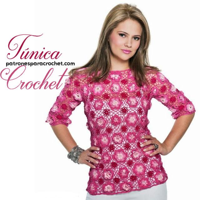 Patrones de túnica floral calada para tejer a crochet | Patrones ...