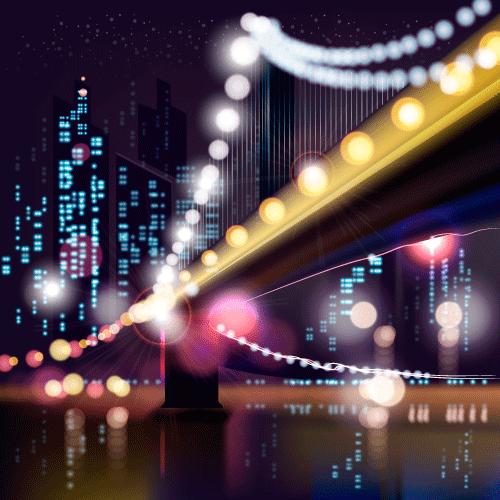 Ciudad nocturna - Vector