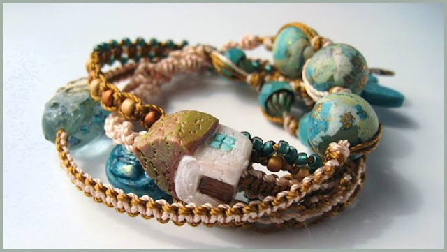 Macrame wrap bracelet featuring various artists beads.