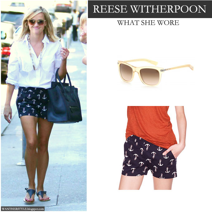 Reese Witherspoon in white shirt with blue anchor print shorts and caramel sunglasses - Want Her Style