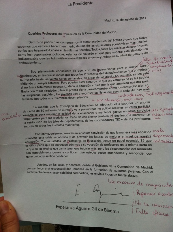 Carta corregida a Esperanza Aguirre