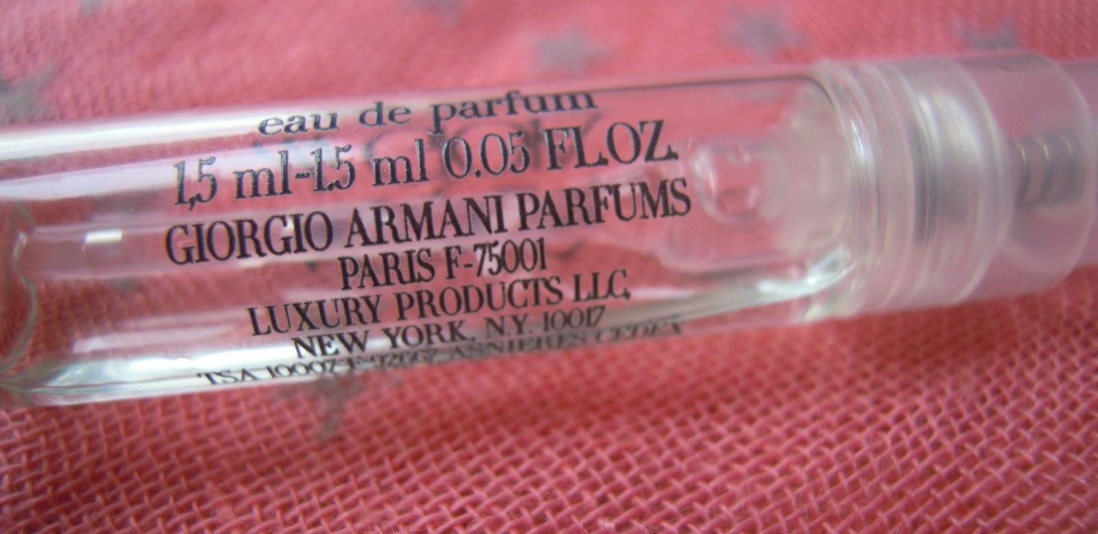 Back of Giorgio Armani Acqua di Gioia perfume sample